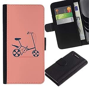 UberTech / Sony Xperia Z1 Compact D5503 / Bicycle Pink Hipster Counter Culture / Cuero PU Delgado caso Billetera cubierta Shell Armor Funda Case Cover Wallet Credit Card
