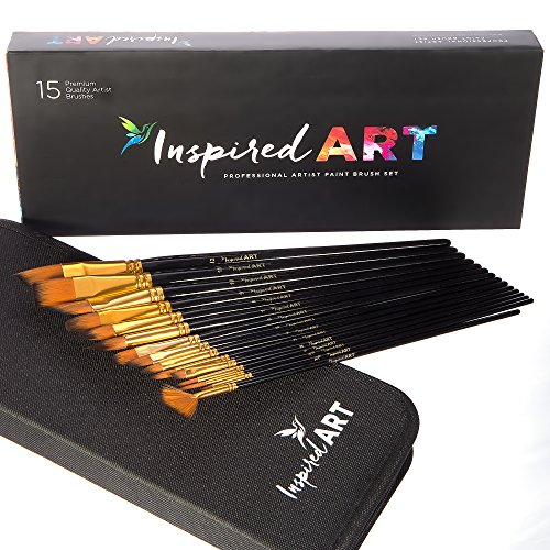 Paint Brush Set of 15 Art Brushes for Acrylic Painting, Watercolor, Oil and Gouache. Professional Artist Quality Paintbrushes, No-Shed Bristles. Protective Carry Case, Gift Box & Care Guide Included