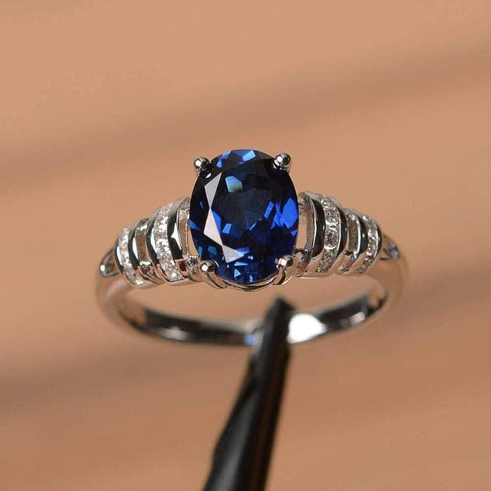 Diseño clásico de 4 garras, anillo de boda de piedra ovalada, joyería, blanco/azul/rojo, 3 colores de piedra disponibles, hermosos anillos de mujer, 6, azul