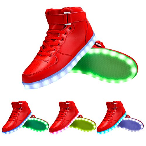 Colors Cool Sneaker Fun GreatJoy Light USB up Shoes 7 LED Charging Red 6OWTqxZ
