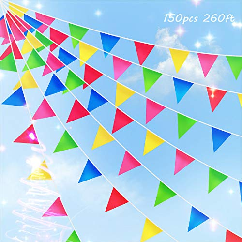 Colorful Flag Banner (260ft 150pcs Multicolor Pennants Banner Rainbow Colorful Nylon Flags for Birthday Party Decorations Weather Resistant Grand Opening Celebrations Christmas)