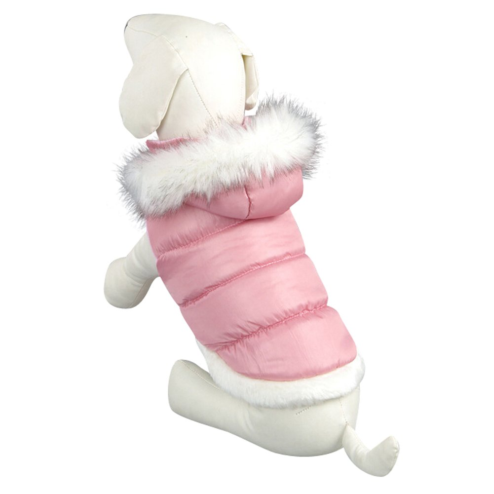 NACOCO Teddy Dog Clothes Winter Cotton-Padded Jacket with Hood Princess Model (Pink, XXL)