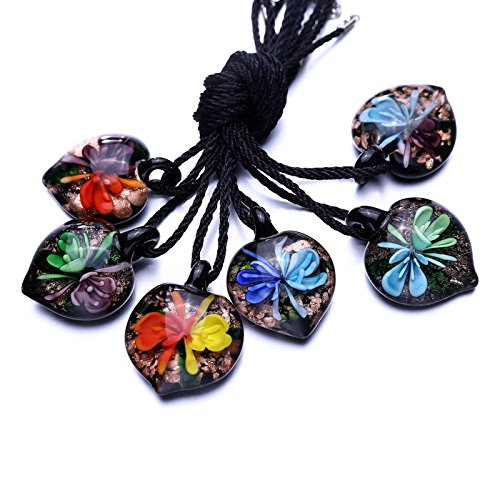 AOBILE(TM) Fashion handmade 6 Colors 3D Flower round Lampwork murano glass beaded pendant necklace jewelry