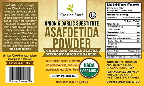 Organic, Gluten-Free Asafetida (Hing) Powder, Health Food Spices for Digestive Health, Low FODMAP, Kosher - Casa de Sante (2.6 oz.) -