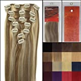 Silky 18 Inch 12/613 Light Brown Mixed with Light Blonde Remy Clip In Human Hair Extensions_7 Pieces Set_Clips Women Beauty Style _70g Weight