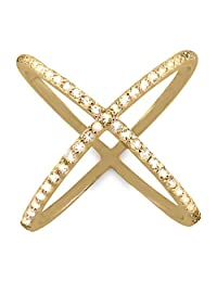 """925 Sterling Silver 14K Gold Plated """"X"""" Criss Cross Long Ring w Cubic Zirconia CZ Stones, Beautiful Jewelry Box Included"""