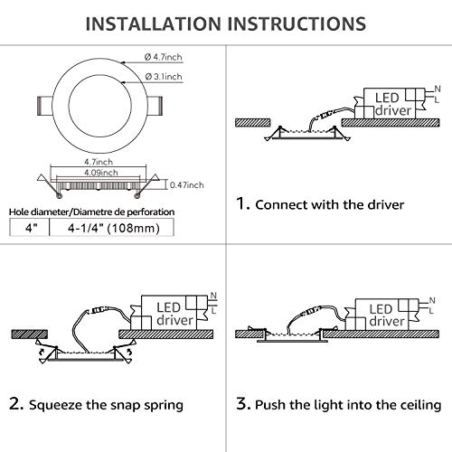 """TORCHSTAR 10W 4"""" Ultra-Thin Recessed Ceiling Light with Junction Box, 4000K Cool White Wafer Light, Dimmable Downlight, 650lm 80W Equivalent ETL and Energy Star Certified, Pack of 6"""