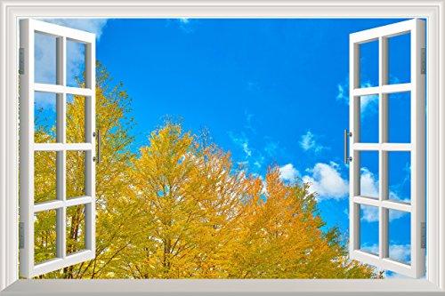 Yellow Pine Tree Clear Sky Open Window Mural Wall Sticker