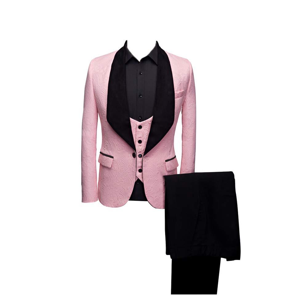 Btaidi Shawl Lapel Man Suit Groom Wedding Men's Blazer Groomsmen Suits 3 Pieces Jacket Vest Pants Tie Pink by Btaidi