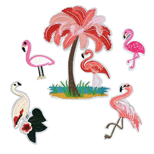 (DIY 5 Pack Flamingos Turkey Assorted Styles Embroidered Patch Sew On/Iron On Patch Applique Clothes Dress Plant Hat Jeans Sewing Flowers Applique DIY)