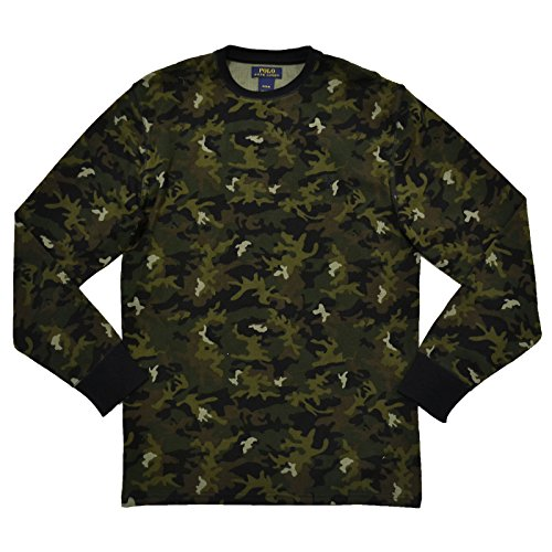 Polo Ralph Lauren Mens Thermal Sleep Shirt Waffle Knit (M, Green Camo)