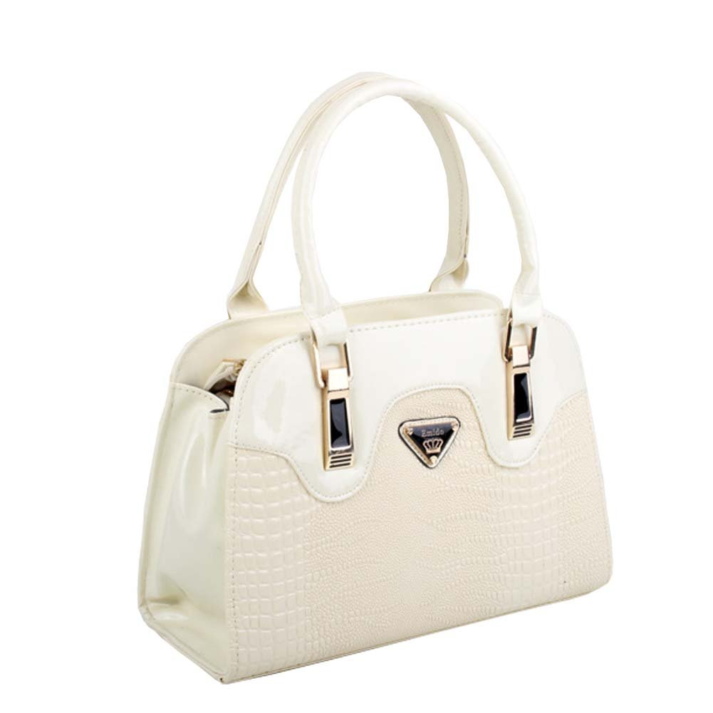 FTSUCQ Womens Leather CROCO Shoulder Handbags Casual Tote Messenger Bags White Hobos by TOP SHOP BAG