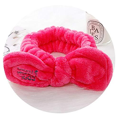Victoria-show-headwear Women Cute Big Ears Comfortable Wash Face Bathe Hair Holder Elastic Headband,Rose Red ()