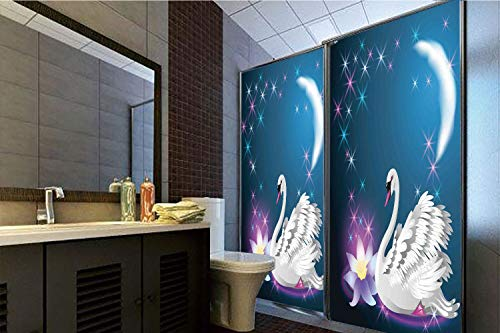 Horrisophie dodo 3D Privacy Window Film No Glue,Swan,Magic Lily and Fairy Swan at Night Swimming in Lake Under Moon and Stars Picture Art,Blue White,70.86
