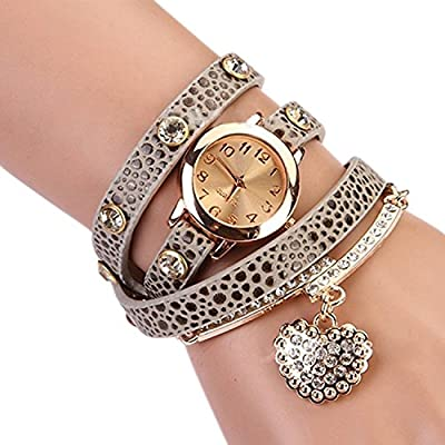 LSVTR Women's Fashion Rhinstone Faux Leather Wrap Bracelet Quartz Watch with Heart Pendant