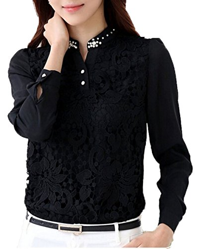 Sexy Women Ladies Long Sleeve Lace T Shirt Top Blouse