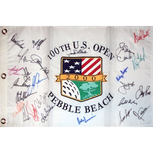 2000 US Open (Pebble Beach) Golf Pin Flag Autographed by 27 Former Champions (Pebble Beach Us Open Flag)