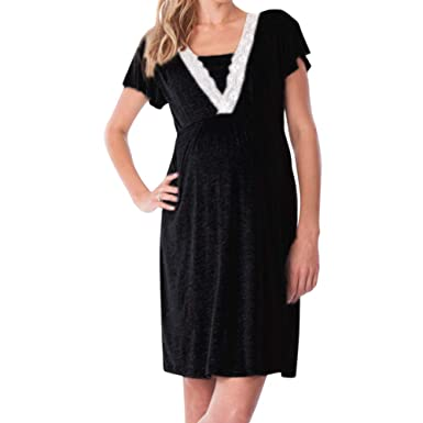 b4f3b5e1334a uirend Women Maternity Dresses Pregnant Breastfeeding Nursing V Neck Midi  Dress Black