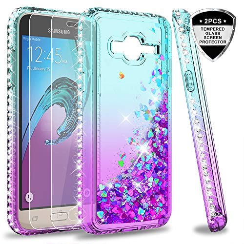 Galaxy J3 2016/J3 V/Sky/Amp Prime/Express Prime Glitter Case with Tempered Glass Screen Protector for Girls Women, LeYi Sparkle Diamond Liquid Quicksand Phone Case for Samsung J3 2016 ZX Teal/Purple