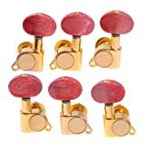 Kmise Machine Head Tuners w/White Plastic Buttons for Acoustic Guitar (A1954) Key (1set 3L3R K-802 Enclosed Tuning Pegs)