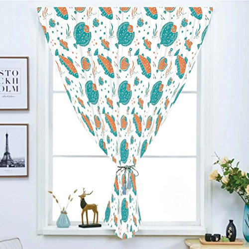 (Blackout Window Curtain,Free Punching Magic Stickers Curtain,Underwater,Flounder and Trout Naive Lino Style Algae Underwater Marine Ocean Sea Pattern,Green Orange,Paste Style,for Living Room)