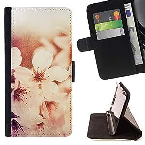 Momo Phone Case / Flip Funda de Cuero Case Cover - Flores blancos Sol Luz - Samsung Galaxy S6