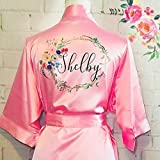 Silk Bridesmaid Robes, Floral robe for brides, Personalized bridesmaid gift