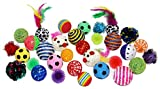 Sweet Pete Cat Toy Ball 24 Piece Variety Pack with Bonus Feather Wand Cat Chaser! (24 Toy Ball Variety Pack)