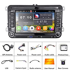 Android 10.0 Car Stereo for VW Passat Golf Jetta Tiguan Double Din 7 Inch Touch Screen Car Radio with Bluetooth GPS Navigation WiFi FM Radio Car Multimedia Player 2 USB Slot Head Unit + Backup Camera