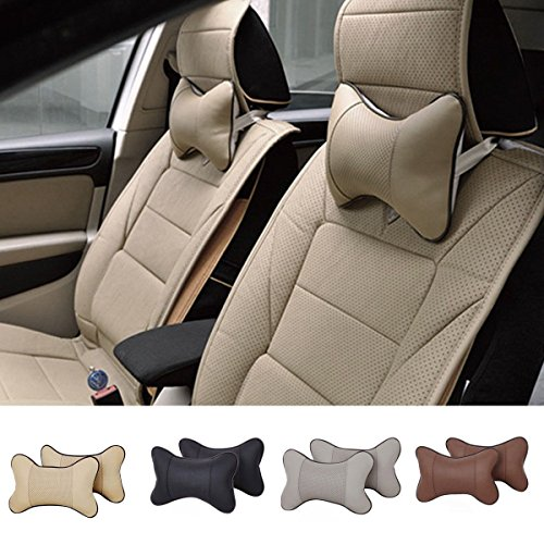 NPLE--1pc Car Seat Headrest Pad Memory Foam Leather Head ...