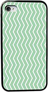 Rikki KnightTM Mint Green Zig Zag Stripes Design iPhone 4 & 4s Black Case Cover (Black Rubber with bumper protection) for Apple iPhone 4 & 4s