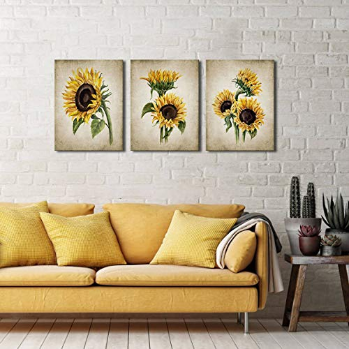 Sunflower Kitchen Decor Simple Life Rustic Wall Vintage Watercolor Pictures For Bedroom 3 Pieces Canvas Art Flower Painting Women Gallery Wrapped Pricepulse