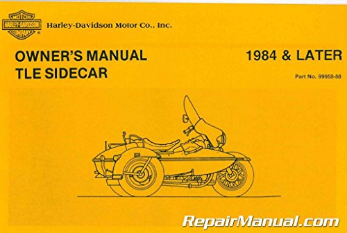 99958-88 1984 Later Harley Davidson TLE Sidecar Owners Manual (Sidecar Tle)