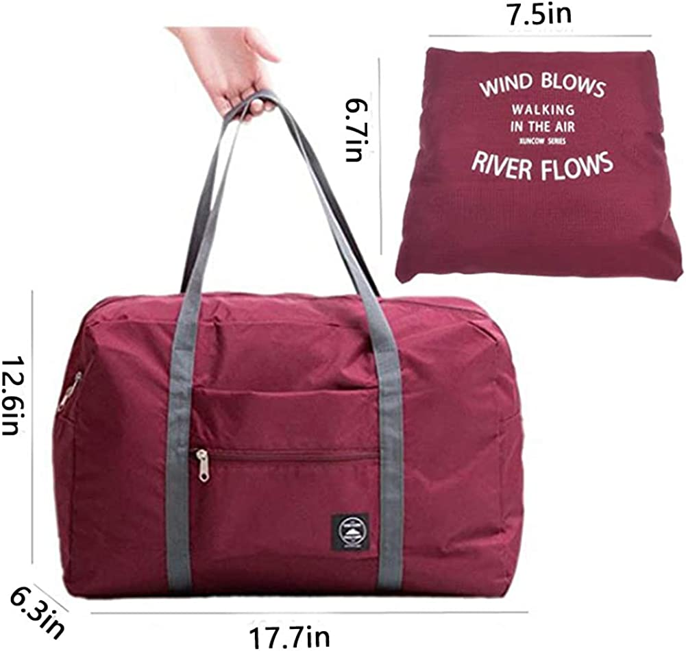 INVODA Foldable Travel Bag Luggage Storage for Sports Gym Water Resistant Nylon Canvas Duffel for Men Women 32 Liter