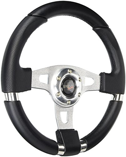 Spec-D Tuning SW-103 340Mm JDM Racing Sport Aluminum Steering Wheel W/ Black PVC Leather+Stitching (05 Tsx Grill compare prices)