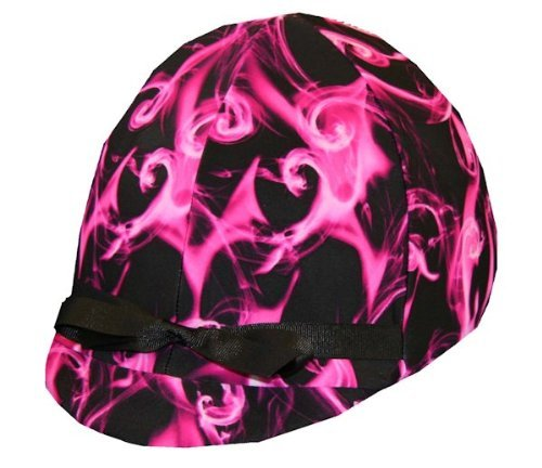 Equestrian Riding Helmet Cover - Hot Pink Swirl Helmet Covers Etc.