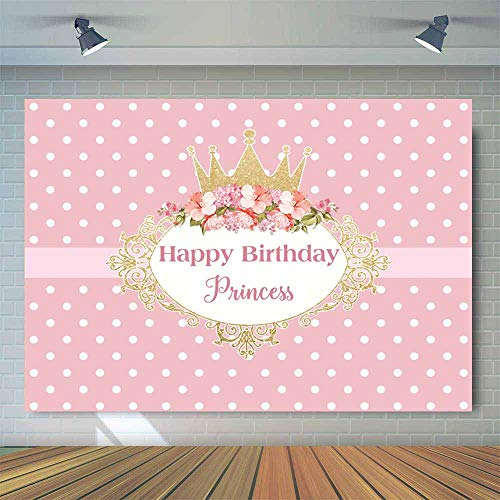Allenjoy 7x5ft Pink Flowers Royal Princess Birthday Party Backdrop Polka Dot Golden Crown Floral Photography Background Sweet Little Girls Bday Dessert Table Banner Photo Booth Props -