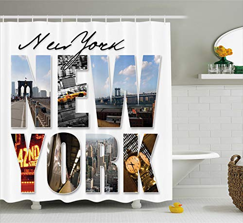 - Ambesonne NYC Decor Shower Curtain Set, New York City Themed Collage Featuring with Different Areas of The Big Apple Manhattan Scenery, Bathroom Accessories, 69W X 70L Inches, Blue White