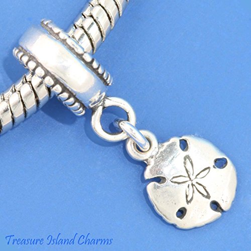 (Sand Dollar Sea Cookie 925 Sterling Silver European Dangle Bead Charm Beach Euro Jewelry Making Supply Pendant Bracelet DIY Crafting by Wholesale Charms)