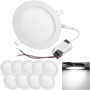 HMINLED 5 Inch 9 Watt LED Recessed Round Panel Light, 70 Watt Incandescent Equivalent for Home, Office, Commercial Lighting, 6500K, 10 Pack