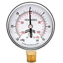 "Winters PEM Series Steel Dual Scale Economical All Purpose Pressure Gauge with Brass Internals, 30 Hg Vacuum-0-15 psi/kpa, 2-1/2"" Dial Display, +/-3-2-3% Accuracy, 1/4"" NPT Bottom Mount"