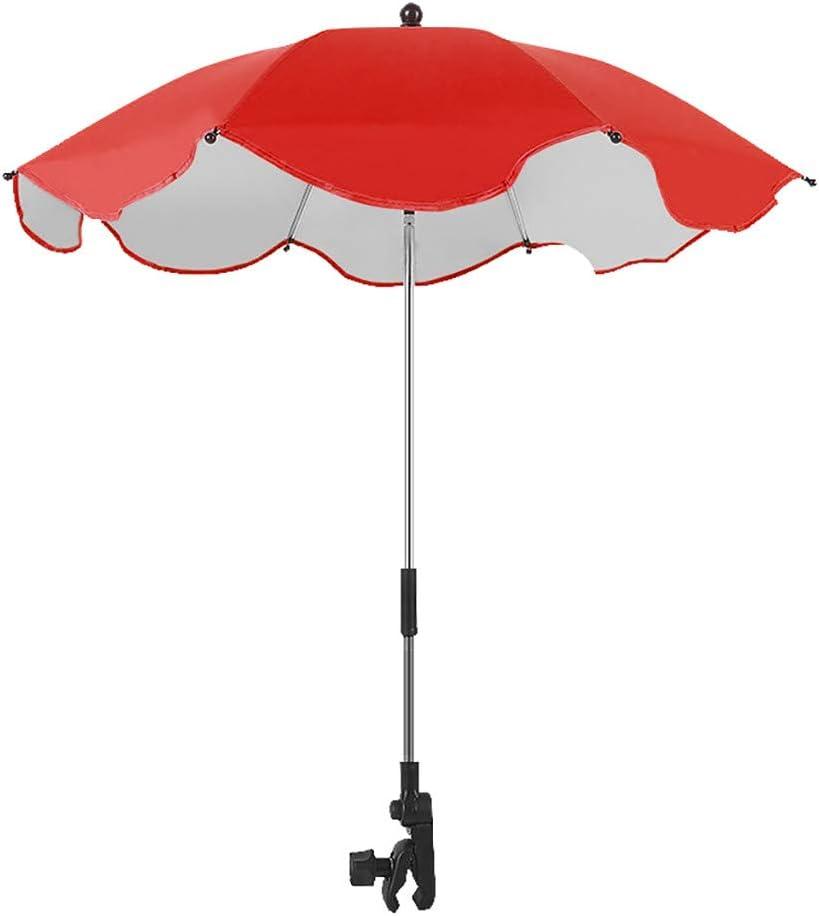 Pare-Soleils Ombrelles R/éGlable Anti-UV pour Poussette Landau Parapluie Parasol avec Holder Clip Fauteuil Roulant B/éB/é,Universelle B/éB/é Tissu Pwtchenty