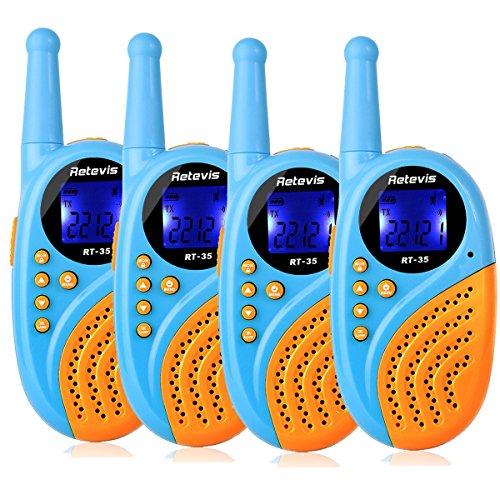 Retevis RT35 Kids Walkie Talkies USB License-Free Digital Alarm Clock 2 Way Radio(Blue, 4 Pack)