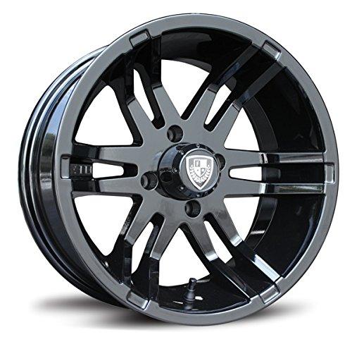 Bundle - 9 Items: Fairway Alloys Flex Blk Golf Wheels 14'' Fusion 205x30-14 Tires [for E-Z-GO & Club CarGolf Carts]