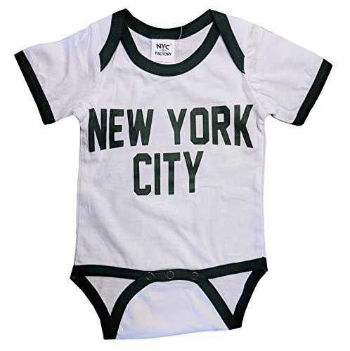 NYC FACTORY New York City Baby Bodysuit Ringer Shirt Screen Printed Lennon Retro Style (12m)