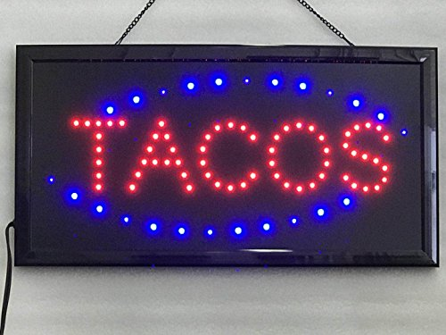 UPSUN Neon Sign Open,LED Business Open Sign Advertisement Board Electric Display Sign, Two Modes Flashing & Steady Light, for Business, Walls, Window, Shop, bar, Hotel(Tacos)