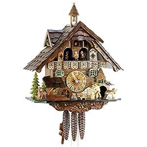 Reloj de cuco de la Selva Negra de madera auténtica, con música y certificado VdS – Relojes de Park Eble – Casa de 40 cm