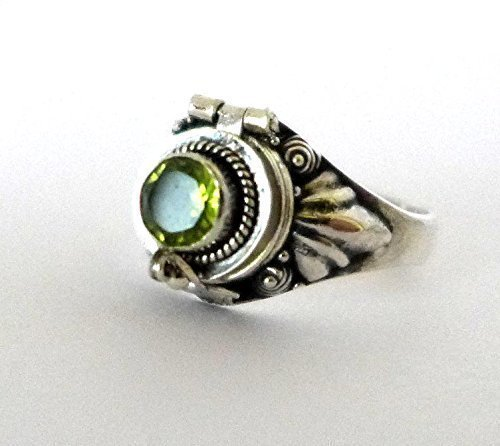 Peridot Poison Ring Sterling Silver Locket Ring Green 925 silver Secret compartment Natural Peridot  August Birthstone US size 6 12
