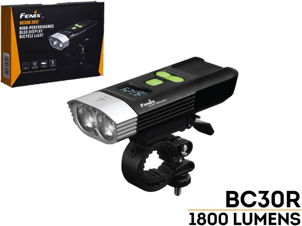 Fenix BC30R 2017 edition 1800 Lumens LED bike light, OLED display screen for the rest runtime and battery percentage, 5200mAh rechargeable battery, USB charging cord and LegionArms sticker