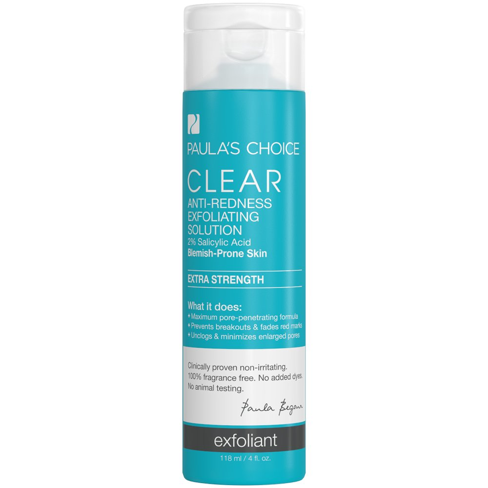 Paula's Choice-CLEAR Extra Strength Anti-Redness Exfoliating Solution with 2% BHA Salicylic Acid, 4 Ounce Bottle Non-Abrasive Face Exfoliator